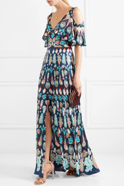 Temperley London Quartz cold-shoulder printed silk crepe de chine gown