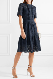 Temperley London Lunar ruffled corded cotton-blend lace dress