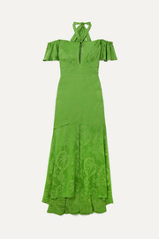 Temperley London Orbit off-the-shoulder satin-jacquard gown