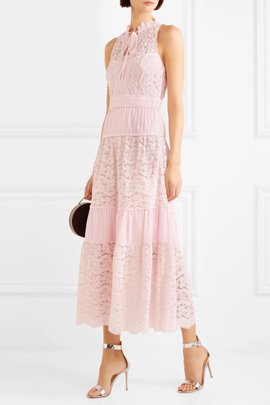 Temperley London Lunar Kleid aus Guipure-Spitze und einer plissierten Baumwollmischung