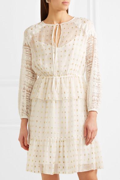 Temperley London Wondering Kleid aus Georgette mit Fil Coupé und Spitzeneinsätzen