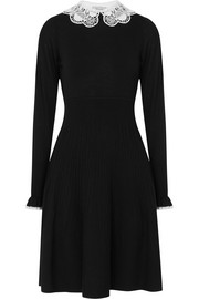 Guipure lace-trimmed merino wool dress