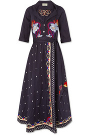 Temperley London Divine embroidered cotton wrap midi dress