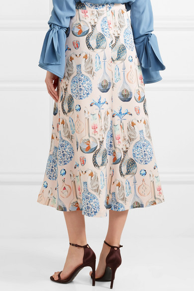 Temperley London Love Potion Midirock aus bedrucktem Satin