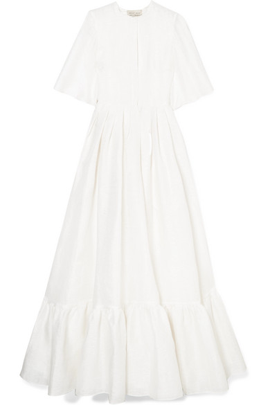 MERCHANT ARCHIVE Linen, Cotton And Silk-Blend Jacquard Gown in White