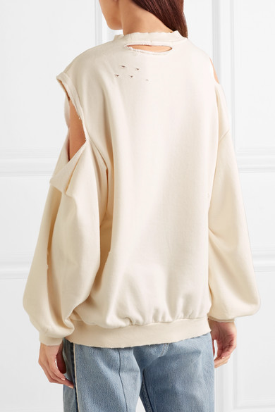 SJYP Oversized-Sweatshirt aus Stretch-Jersey in Distressed-Optik mit Cut-outs
