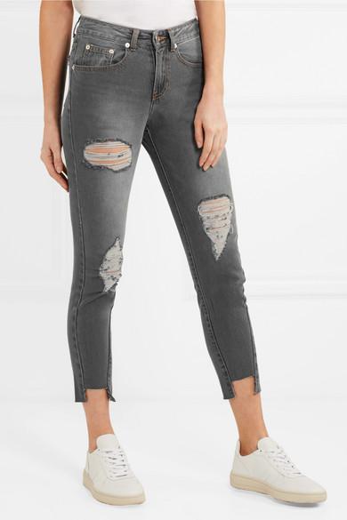 SJYP Verkürzte, halbhohe Skinny Jeans in Distressed-Optik
