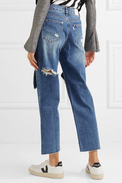 SJYP Hoch sitzende Jeans mit geradem Bein in Distressed-Optik