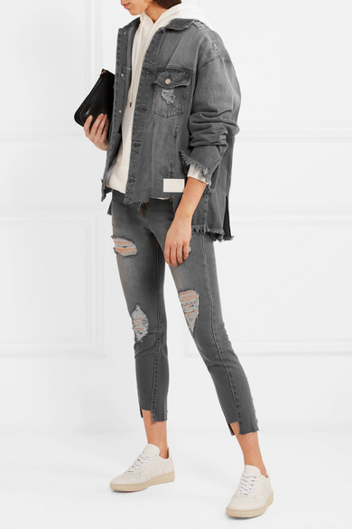 SJYP Jeansjacke in Distressed-Optik