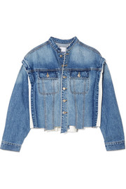 Distressed paneled denim jacket
