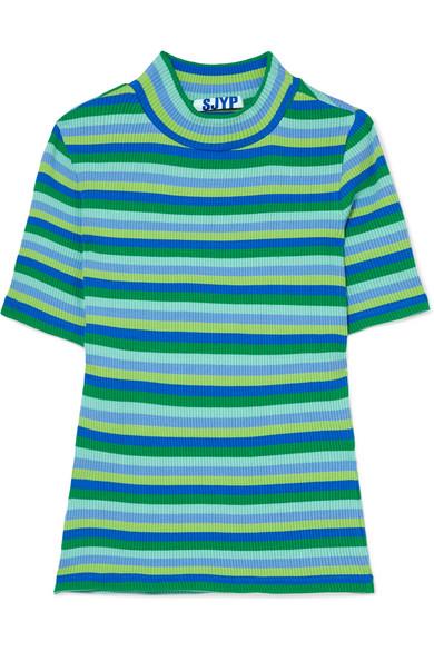 SJYP Gestreiftes T-Shirt aus einer gerippten Baumwollmischung