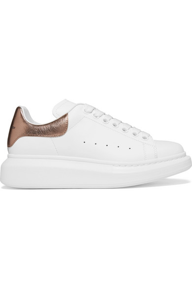 Metallic leather exaggerated-sole sneakers