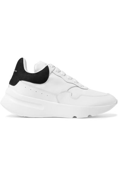 Alexander McQueen Sneakers aus Leder mit Velourslederbesatz und überstehender Sohle