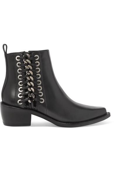 Alexander McQueen Ankle Boots aus Leder mit Details im Überwendlichstich