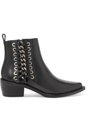 Whipstitched leather ankle boots