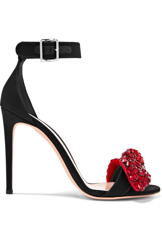 Black Embellished satin sandals