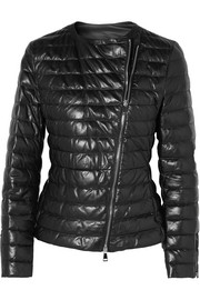 Moncler Quilted leather down jacket
