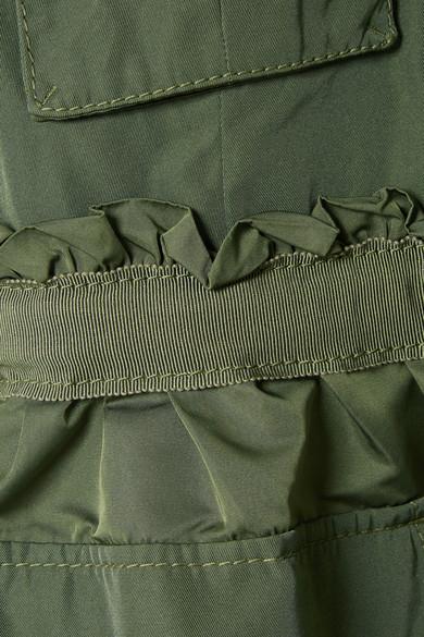 Moncler Jacke aus Gabardine mit Kapuze und Rüschen
