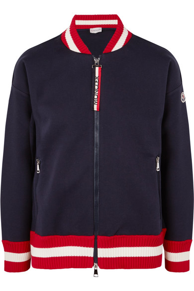 Ribbed Knit Trimmed Cotton Neoprene Bomber Jacket by Moncler