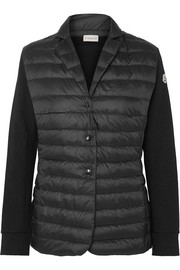 Moncler Cotton-jersey and quilted shell jacket