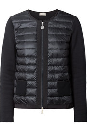 Moncler Quilted shell and knitted cotton down cardigan