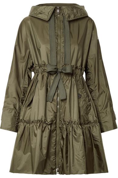 Moncler Mantel aus Shell mit Kapuze und Rüschen