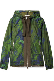 Hooded grosgrain-trimmed printed shell jacket