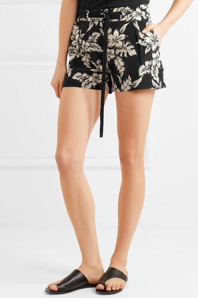 Moncler Floral bedruckte Shorts aus Seiden-Georgette Spielfrei Versand 7tA2MTiY