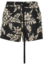 Floral-print silk-georgette shorts