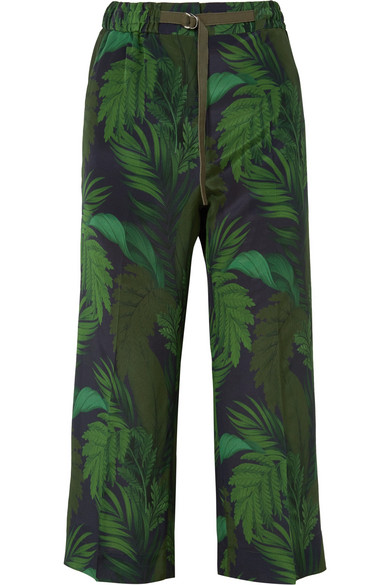 Cropped Printed Silk Straight-Leg Pants in Green