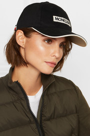 Appliquéd cotton-twill baseball cap