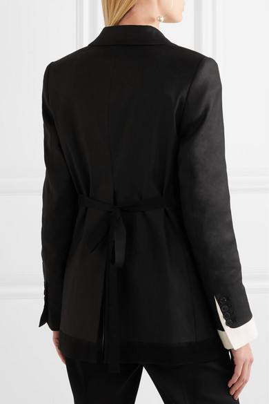 Ann Demeulemeester Blazer aus Tweed aus einer Leinen-Baumwollmischung mit Satinbesatz