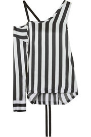 Asymmetric striped silk-satin top
