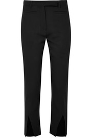 Cropped wool slim-leg pants