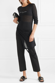 Asymmetric printed ribbed jersey top