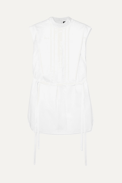 Layered Tie Detailed Cotton Poplin Top by Ann Demeulemeester