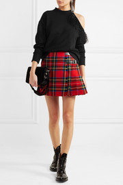 DNA glossed leather-trimmed tartan wool mini skirt