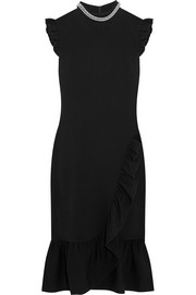Christopher Kane Chain-trimmed ruffled stretch-crepe midi dress