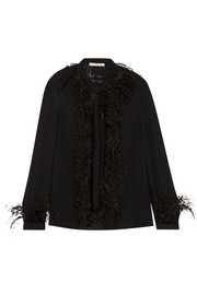 Christopher Kane DNA feather-trimmed silk-georgette blouse