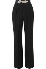 Christopher Kane Crystal-embellished crepe straight-leg pants