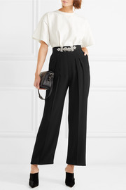 Crystal-embellished crepe straight-leg pants