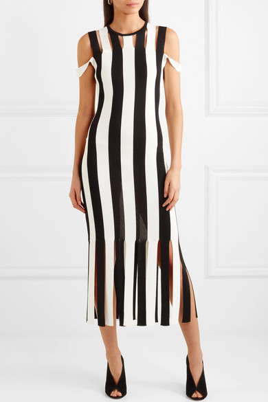Christopher Kane Gestreiftes Midikleid aus Stretch-Strick mit Cut-outs