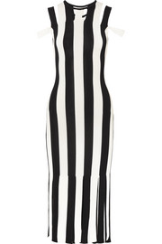 Cutout striped stretch-knit midi dress