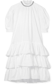 Embellished tiered cotton-poplin dress
