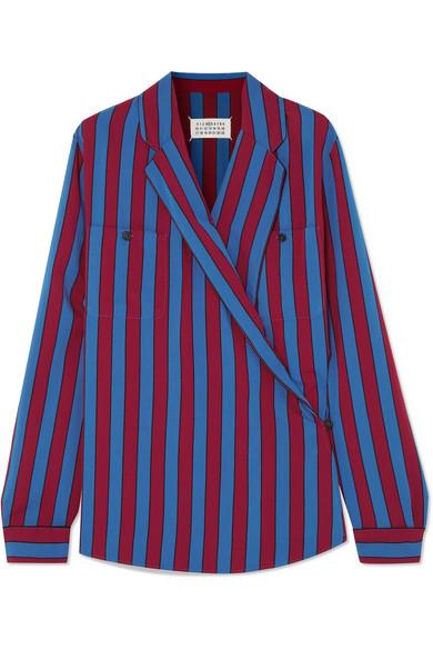 Maison Margiela - Striped Crepe Wrap Blouse - Blue