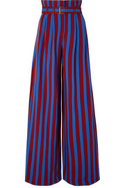 Belted striped crepe wide-leg pants