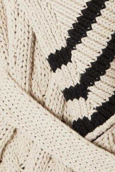 Maison Margiela Cardigan aus einer Baumwoll-Leinenmischung mit Zopfstrickmuster