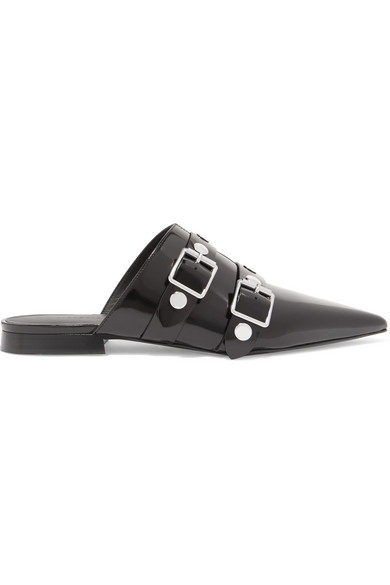 PUNKY EMBELLISHED GLOSSED-LEATHER SLIPPERS