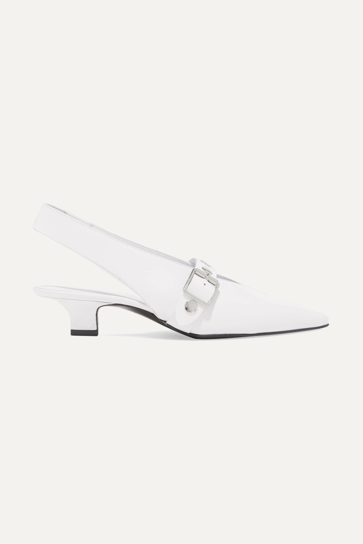 Victoria Beckham Studded patent-leather slingback pumps
