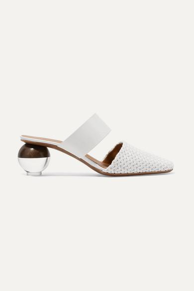 NEOUS Masdevallia Leather And Crochet Mules in White